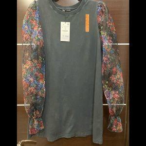 Zara jersey midi short dress with Organza sleeves